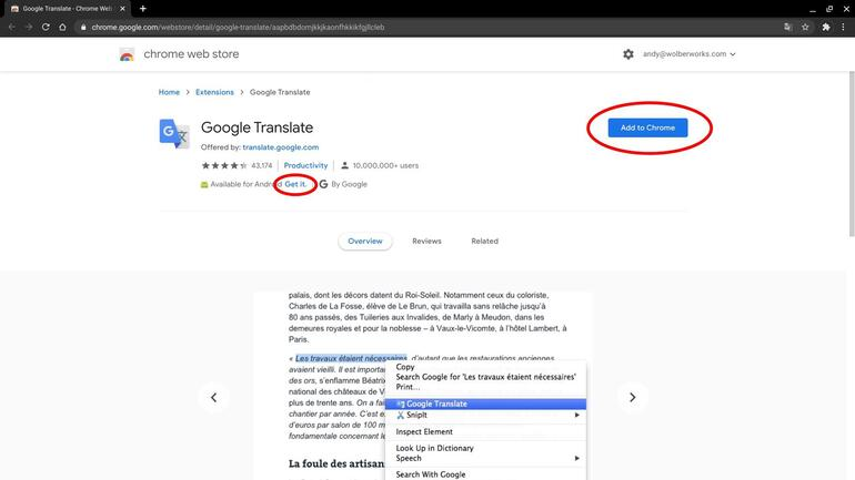Screenshot of Google Translate in Chrome web store, with circles around