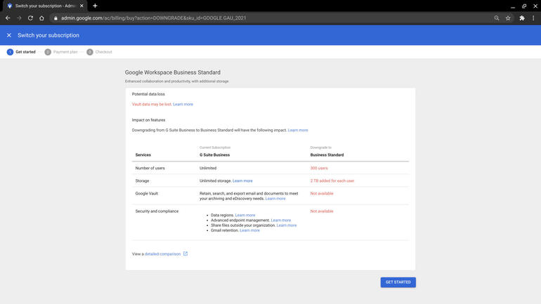 Screenshot of side-by-side columns for G Suite Business and Workspace Standard, with 4 features listed as downgrades: number of users, storage, Google Vault, and Security and compliance.