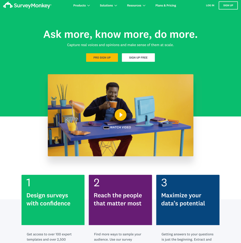 A SurveyMonkey page in English with a simple and similar aesthetic