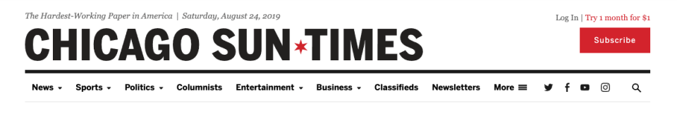The masthead component for the Chicago Sun-Times, showing a white background, stark black text, and a red Subscribe button.