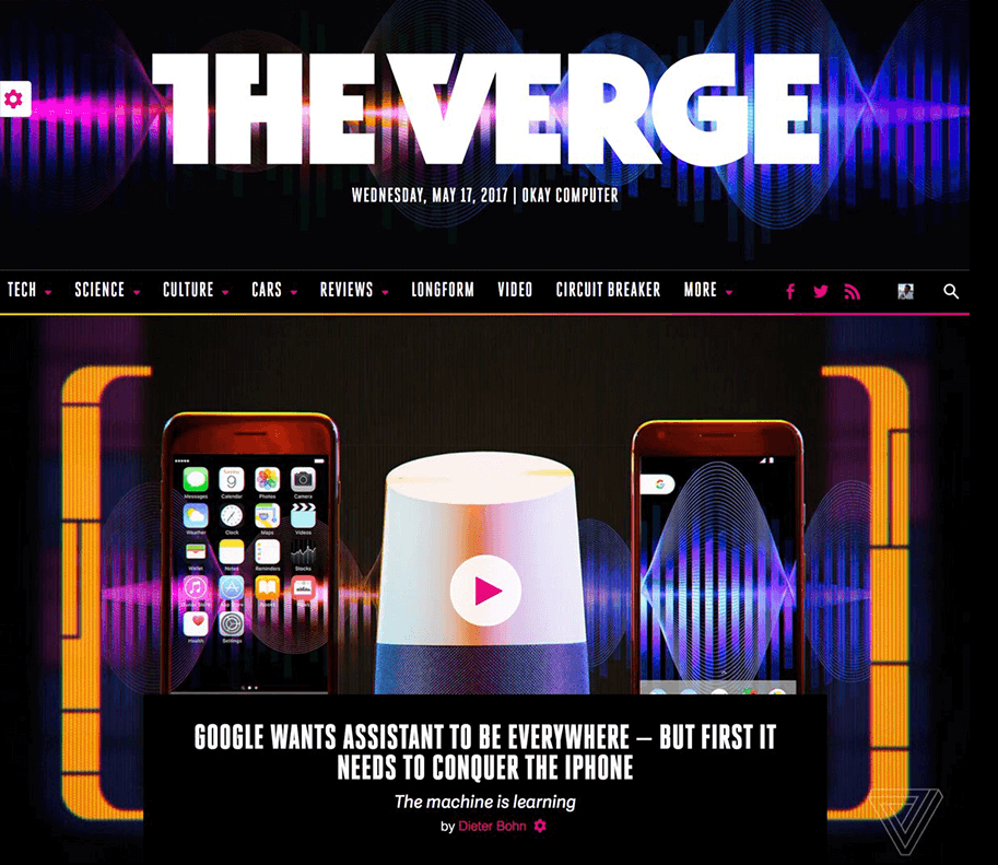 Comparison of the Verge's homepage, changing based on the masthead design and hero photography.