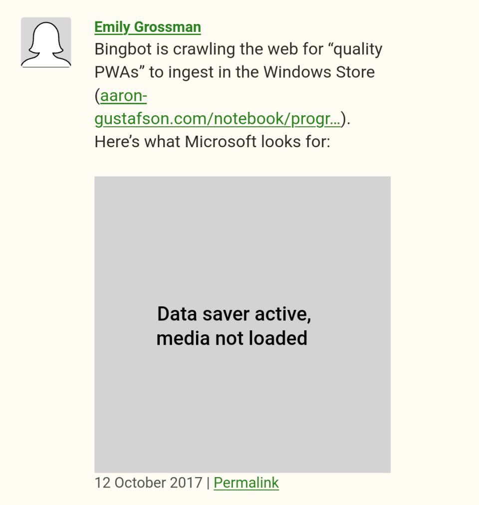 Screenshot showing a blog comment with a generic user profile image and image placeholder where the network could not load the actual images