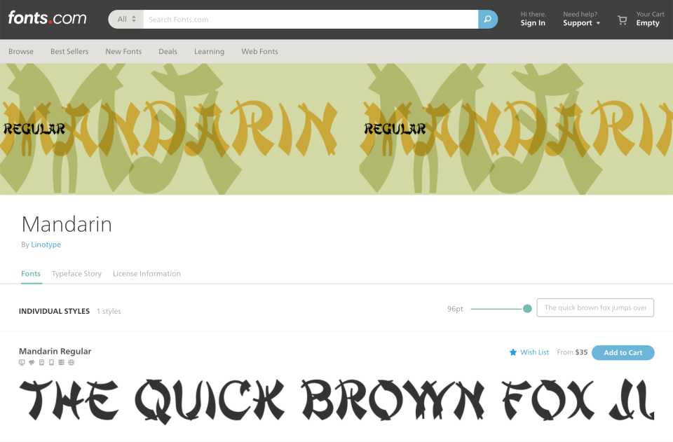 """A font called """"Mandarin"""" with a stereotypical Asian aesthetic"""