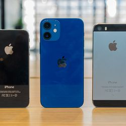 <em>From left to right: the iPhone 4S, iPhone 12 mini, and iPhone 5S.</em>
