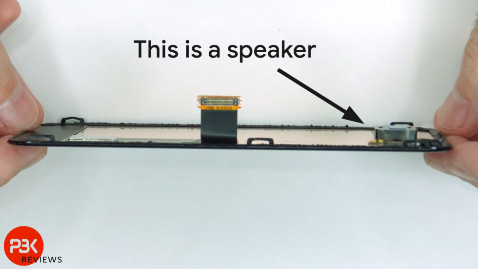 This silver block attached to the back of the display is the speaker. Instead of being at the top of the phone, it's much further down than you would expect. The sweet spot for sound seems even lower than the speaker assembly.