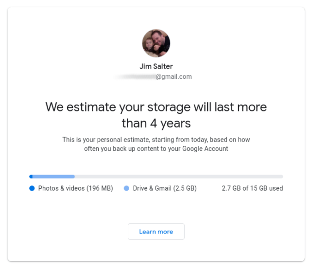 You might be bad at math, but Google isn't—the company will look at the rate at which you accumulate data and project the point at which you'll hit capacity limits.