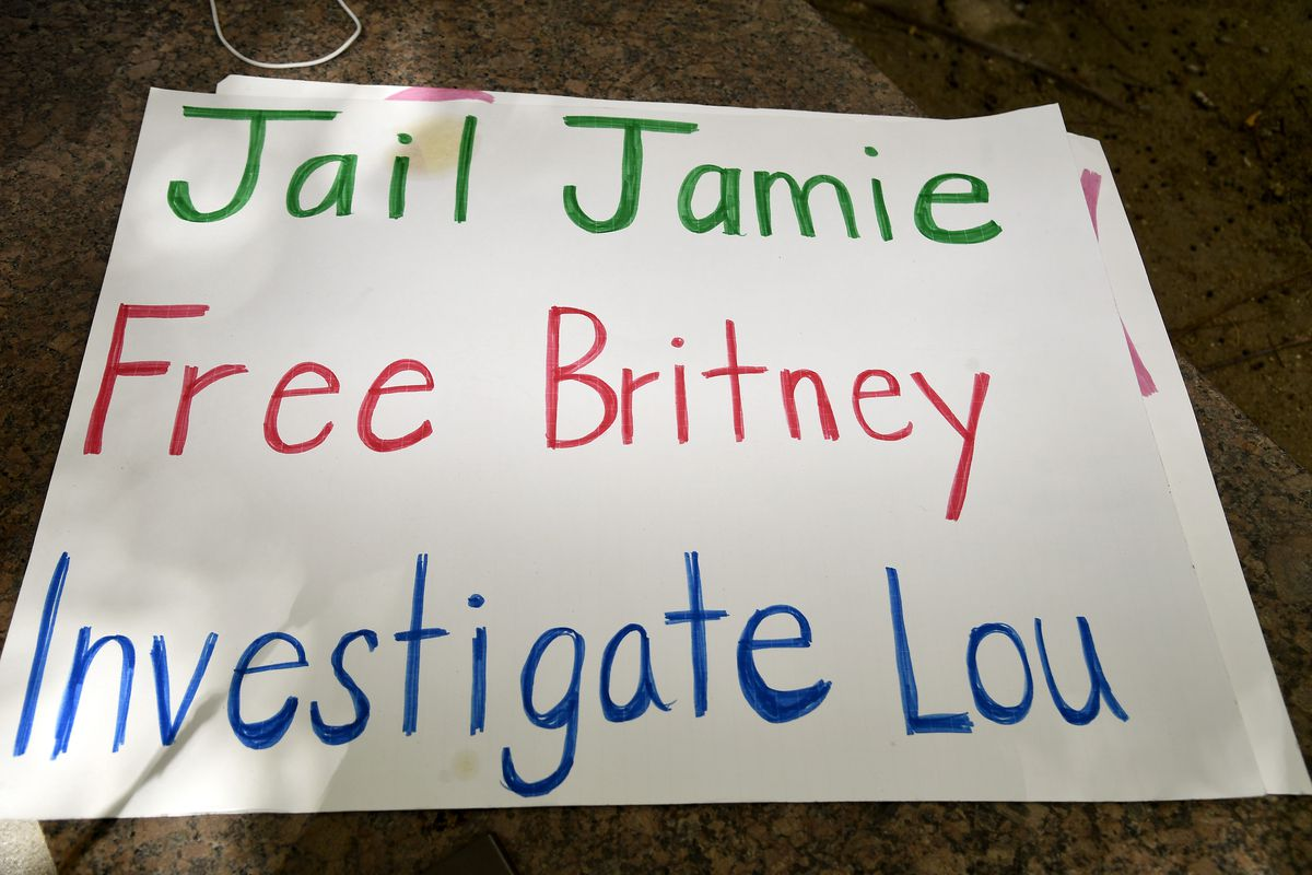 """A handwritten sign on white posterboard reads, """"JAIL JAMIE, FREE BRITNEY, INVESTIGATE LOU."""""""