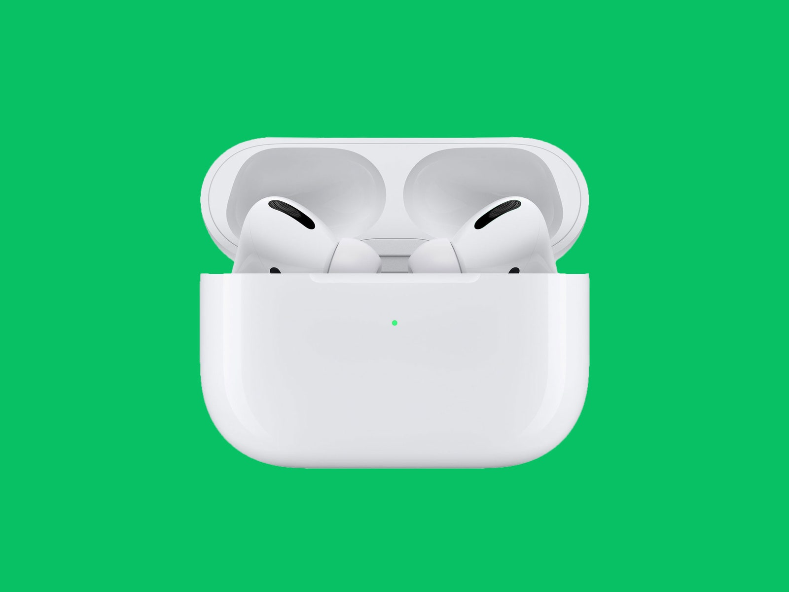 apple pods in case on green background