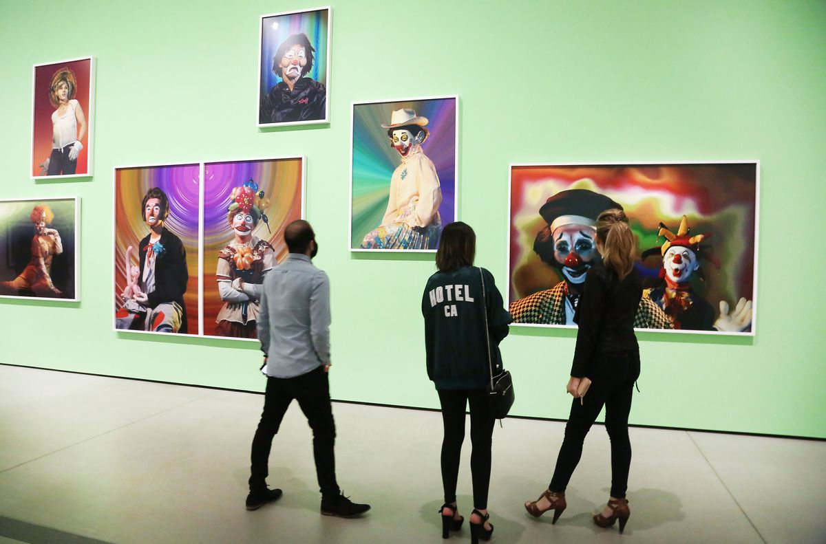 A photo of guests looking at art made by Cindy Sherman at the Broad Museum in Los Angeles