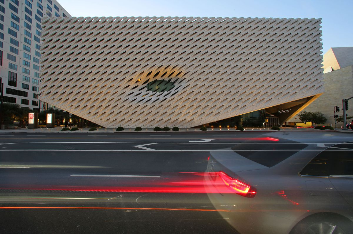 An exterior view of the Broad Museum on Grand Avenue in Los Angeles, California
