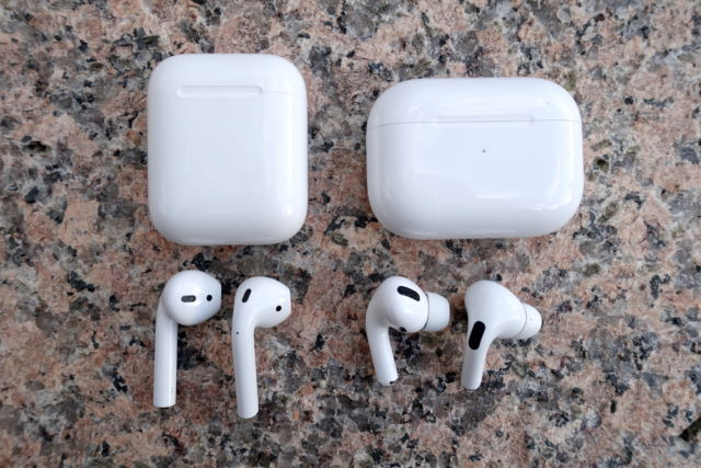 Apple's AirPods (left) and AirPods Pro.