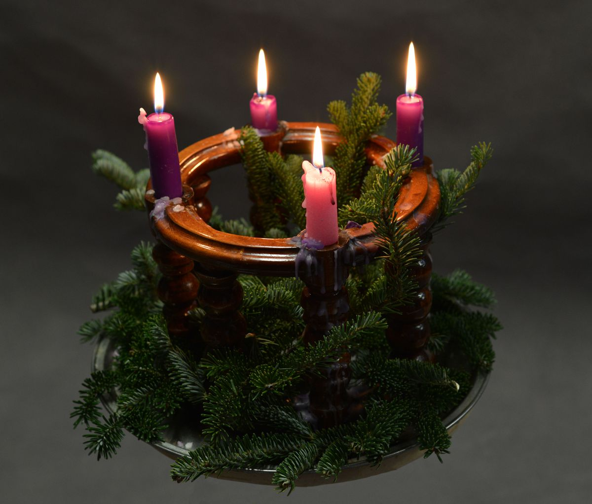 A typical Advent wreath.