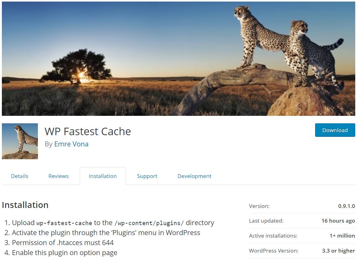 Steps to Installing WP Fastest Cache