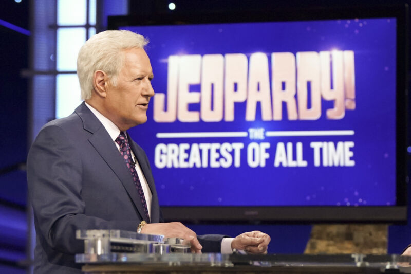 Alex Trebek, seen here hosting a themed Jeopardy tournament in January 2020—and while the tournament's name was about high-performing contestants from the series' past, today, we are going to say that it's specifically about Trebek himself.