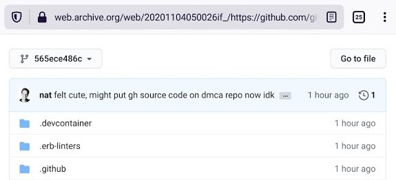 The source code leak disappeared from GitHub itself very quickly—and didn't stay up on web.archive.org for very long after that.