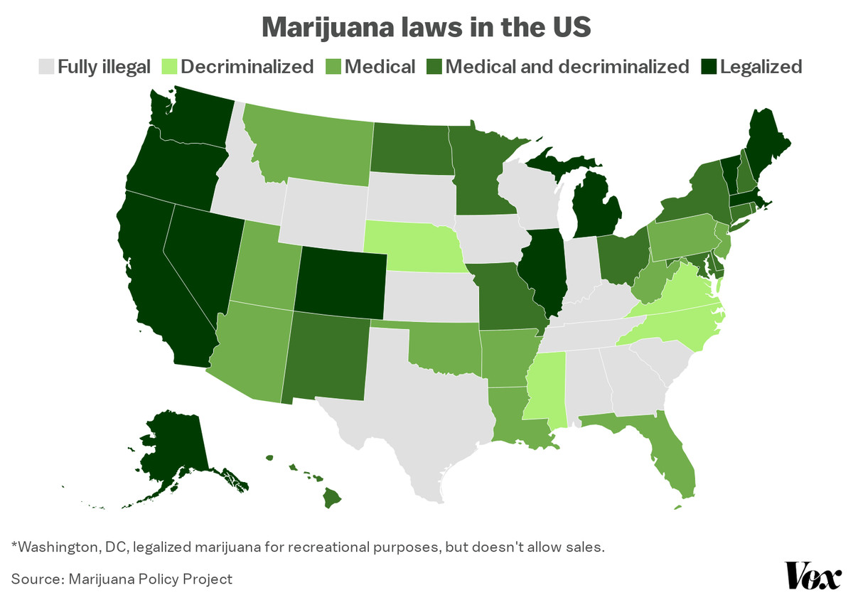 A map of state marijuana laws.
