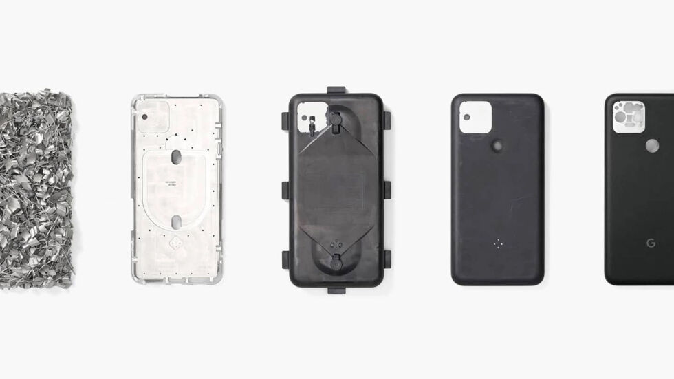 Google's picture showing the steps in the Pixel 5 build process. The second from the left shows the bare aluminum body, which has a ton of holes punched in it for wireless charging and mmWave. From there, it goes in a mold and gets covered in resin.