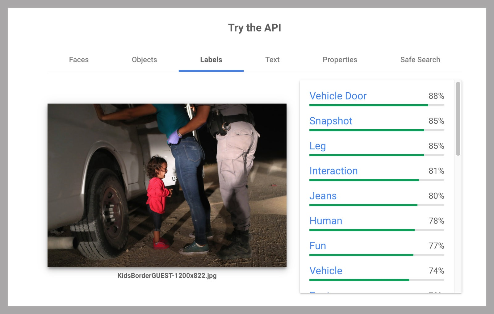 Google API page with description labels and percentages for an image of a child crying next to a truck while an adult is...