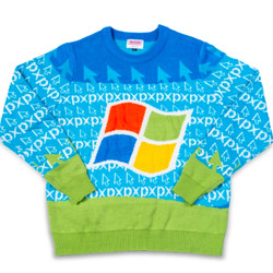 <em>The Windows 95 Ugly Sweater prominently features the redesigned Windows logo the operating system launched with.</em>