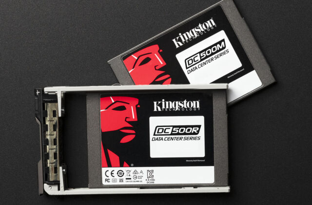 """Kingston's DC500 series of drives comes in two variants—a less-expensive 500R """"read optimized"""" version, and the heavier duty 500M """"mixed workload"""" version we're testing today."""