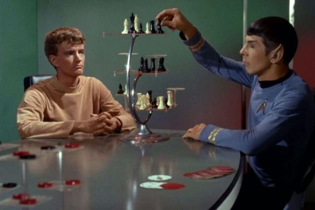 Spock playing 3D chess in