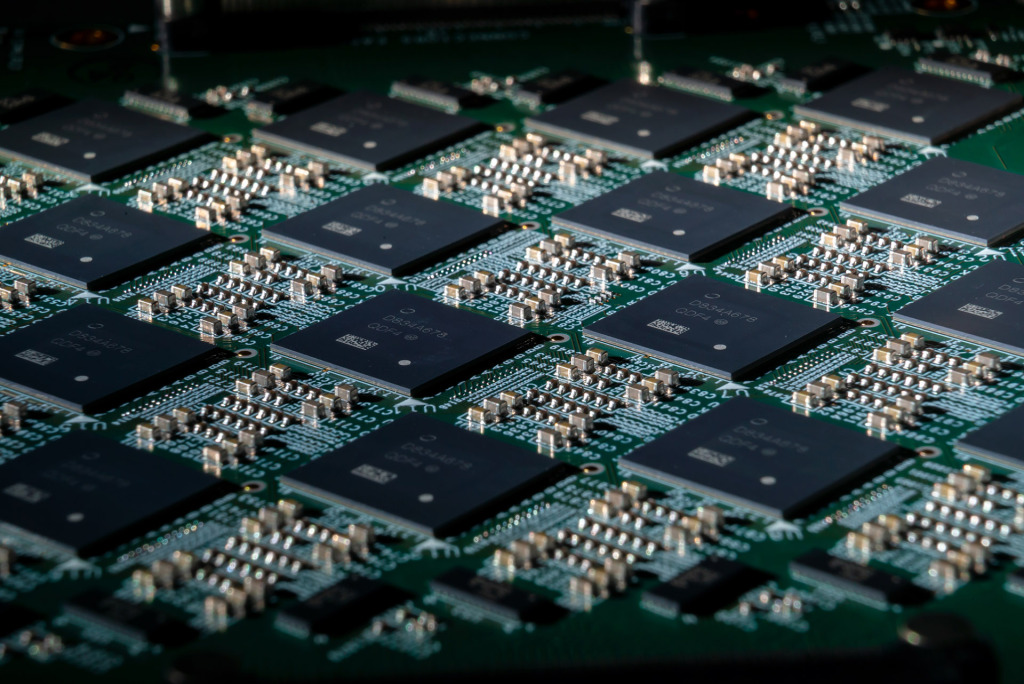A close-up of Intel's Nahuku board, which contains 8 to 32 Loihi neuromorphic chips. Intel's latest neuromorphic system, Pohoiki Beach, is made up of multiple Nahuku boards and contains 64 Loihi chips. Pohoiki Beach was introduced in July 2019.