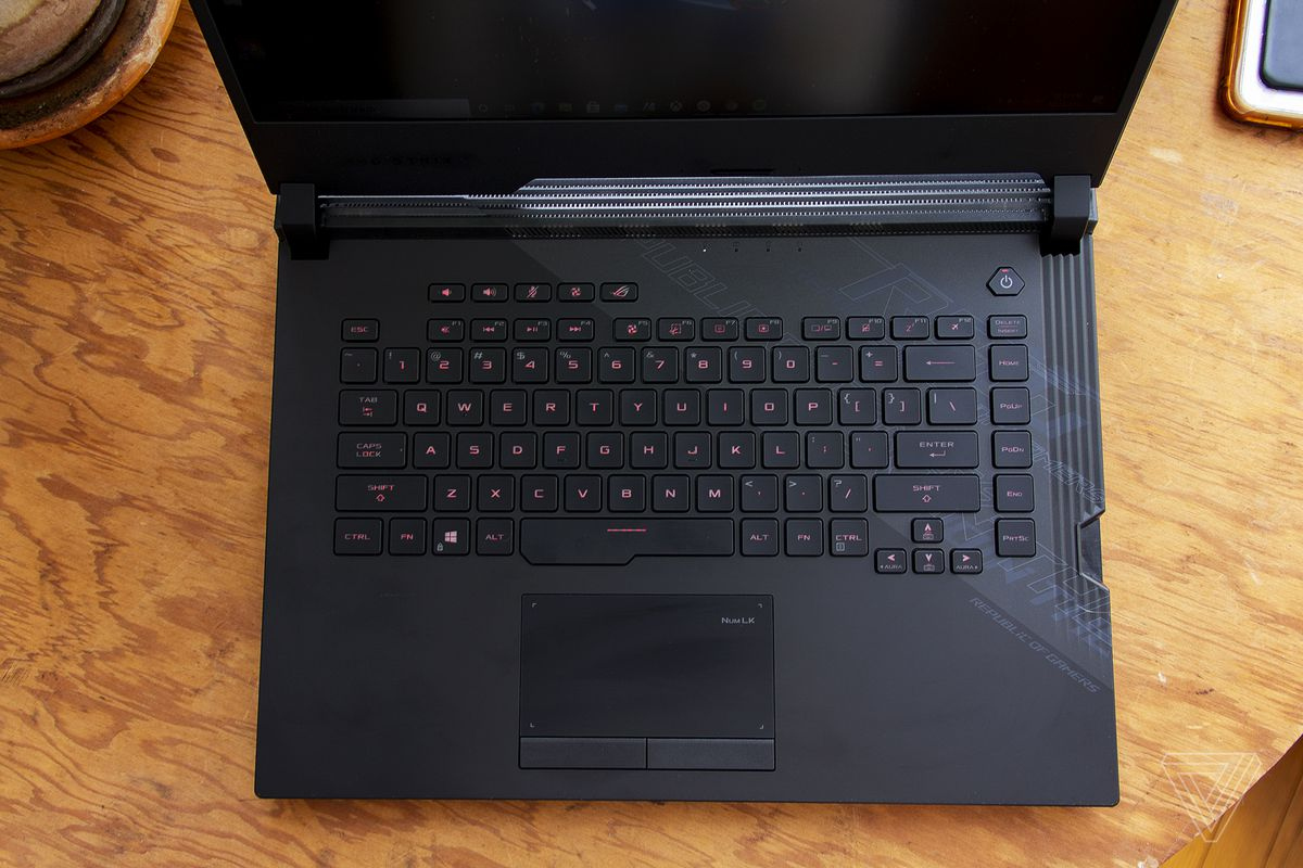 The Asus ROG Strix Scar keyboard and touchpad seen from above.