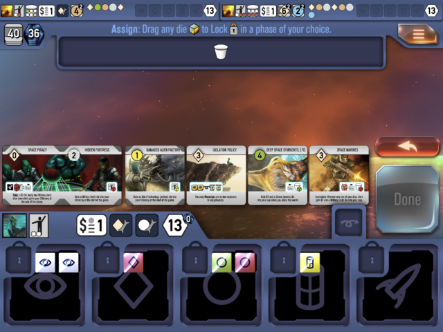 Roll your dice to spend them as workers, building worlds and trading goods for points.