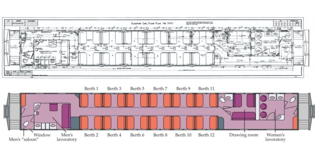 Schematic drawing of the Pullman car where John Wheeler spent the night on 6 January 1953.