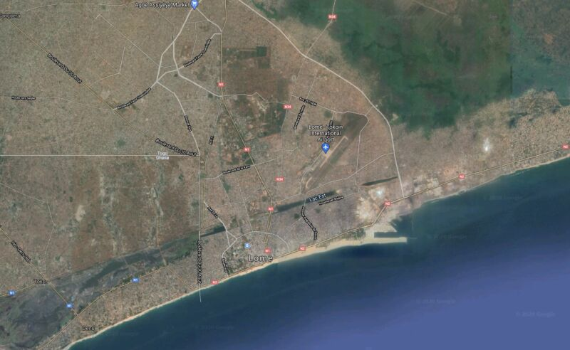A bird's-eye view of Lome, the capital of Togo, from Google Maps.