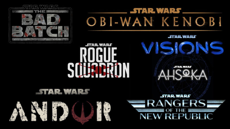 Promotional image for multiple upcoming Star Wars series.