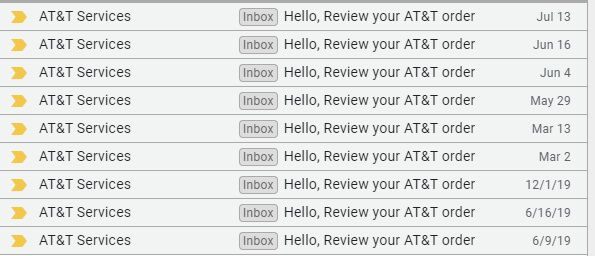 "Nine Gmail subject lines that say ""Hello, review your AT&T order"""