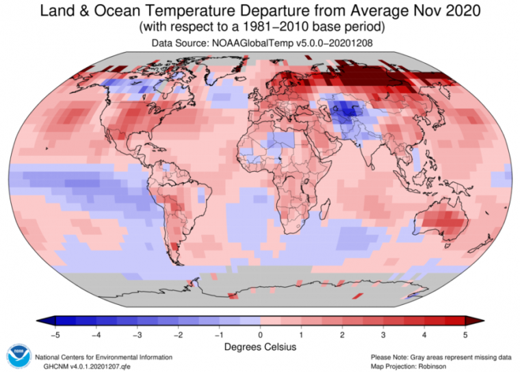 This was the second-warmest November on record, globally.