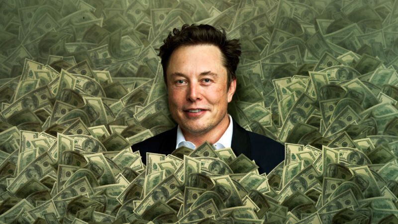 A photoshopped image of Elon Musk emerging from an enormous pile of money.