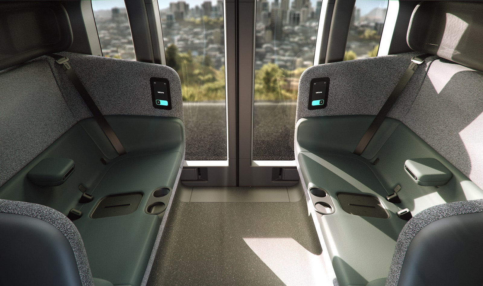 Interior of Zoox AV with bench seats and glass windows