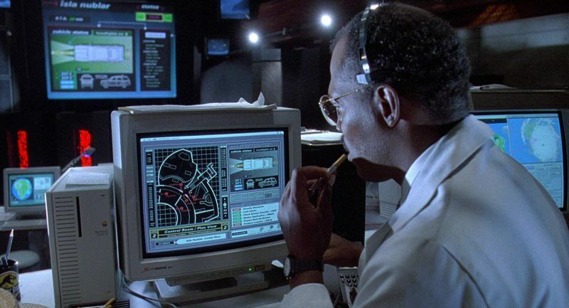 Be a shame if anything happened to those dinosaur paddock gates, so it's a good thing Sam Jackson can monitor this situation with his Quadra 700.