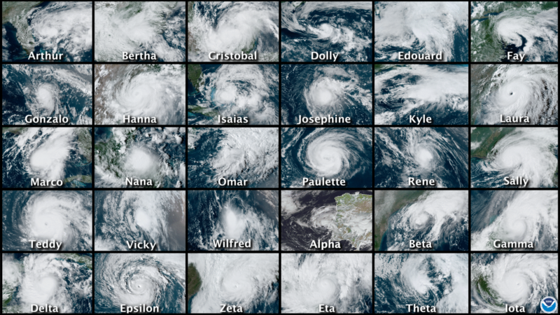 Satellite photos of every storm are lined up in a 6x5 grid.