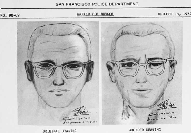 Side-by-side police sketches on a WANTED poster.