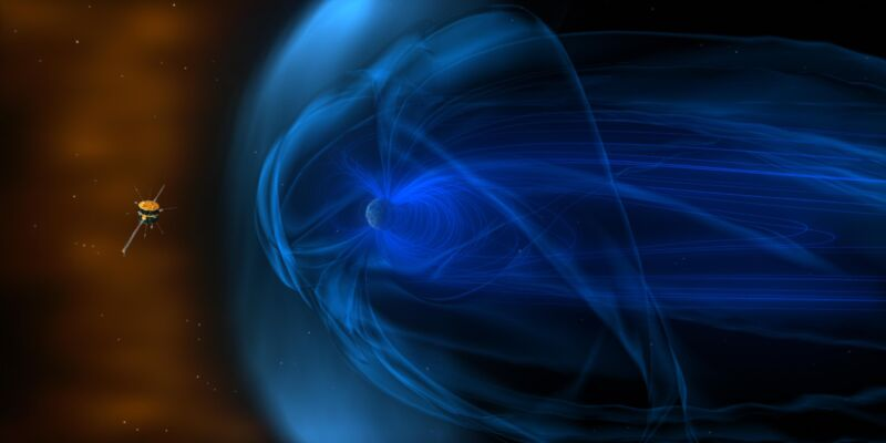 """This is an artist's concept of <em>Wind</em>, a NASA <a href=""""https://solarsystem.nasa.gov/missions/wind/in-depth/"""">spacecraft</a> which spent twenty years gathering data on the solar wind (no relation)."""