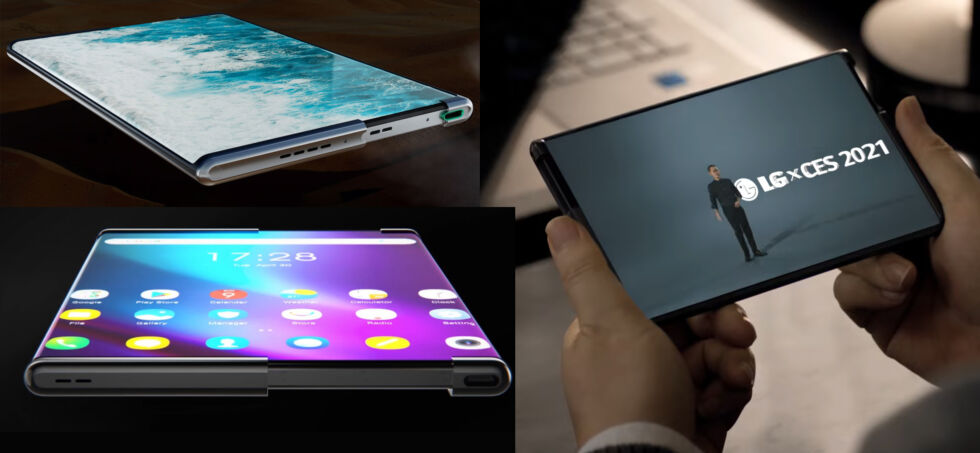 Rollable phones and concepts from Oppo (top left) TCL (bottom left) and LG (right). Is it just me, or are these all the same phone? No one filed a patent?