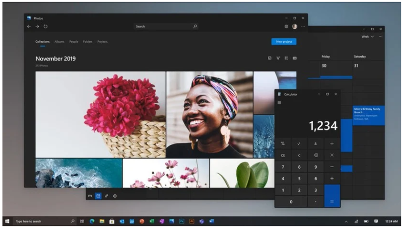 This screenshot of the Photos and Calculator apps comes from a video Microsoft product chief Panos Panay dropped on Instagram to demonstrate new UI concepts in March 2020.