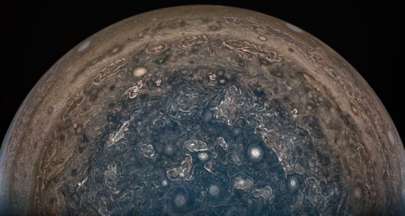 NASA's Juno spacecraft soared directly over Jupiter's south pole when JunoCam acquired this image on February 2, 2017.