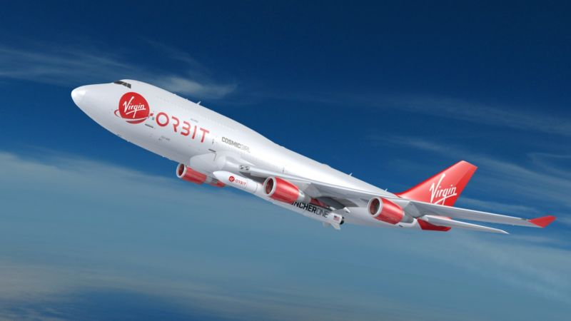 A dedicated 747-400 aircraft will carry Virgin Orbit's LauncherOne to an altitude of approximately 35,000 feet before release for its rocket-powered flight to orbit.