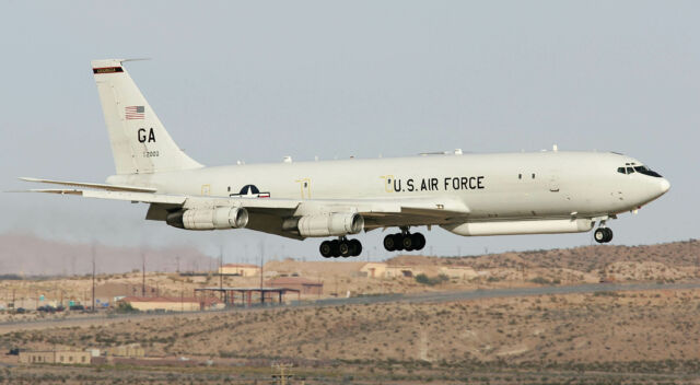 An E-8 JSTARS aircraft (converted from a Boeing 707 airframe) lands at Nellis Air Force Base in 2006.