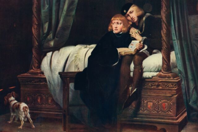 The princes in the tower as envisioned by Paul Delaroche, circa 1831, in the painting <em>King Edward V and the Duke of York (Richard) in the Tower of London</em>.