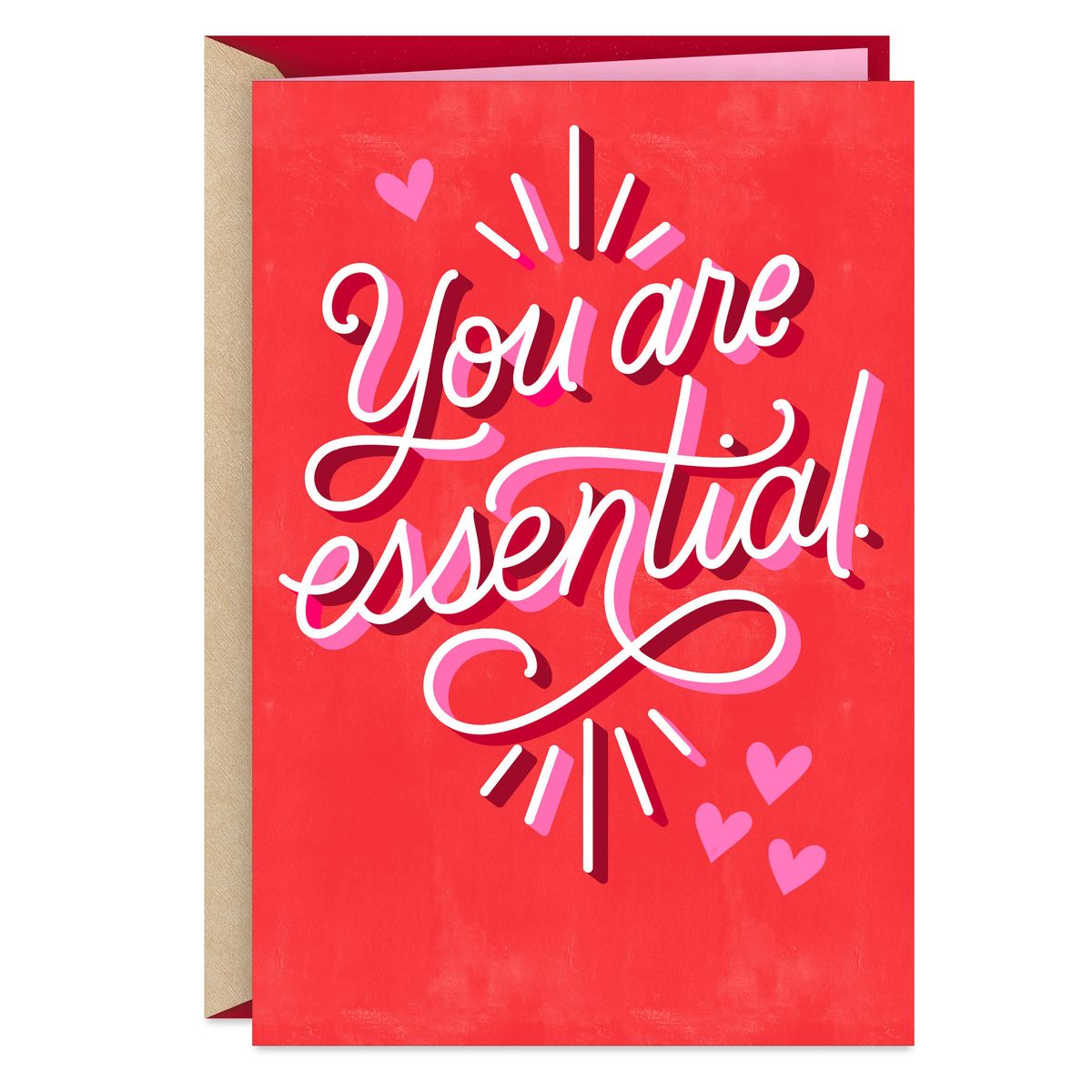 "A card that says ""You are essential"" on the front."