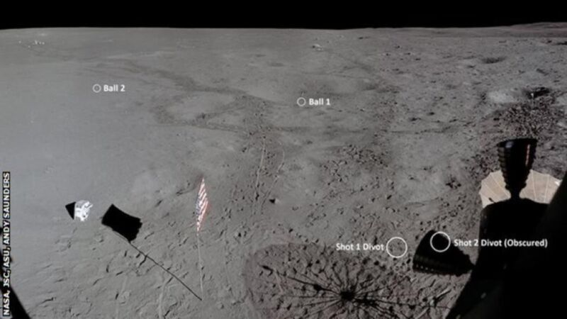 This image consists of six photographs taken from the Apollo 14 Lunar Module, enhanced and stitched into a single panorama to show the landing scene, along with the location from where Alan Shepard hit two golf balls. Both astronaut's PLSS' (life-support backpacks) can also be seen at left.