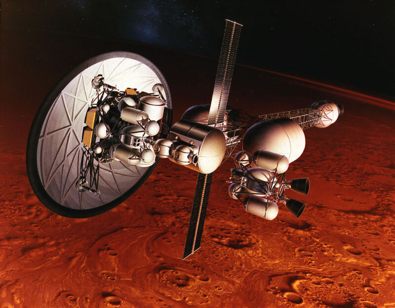 NASA originally studied nuclear thermal propulsion in the 1960s. Here is concept art for the Nuclear Energy for Rocket Vehicle Applications (NERVA) program.