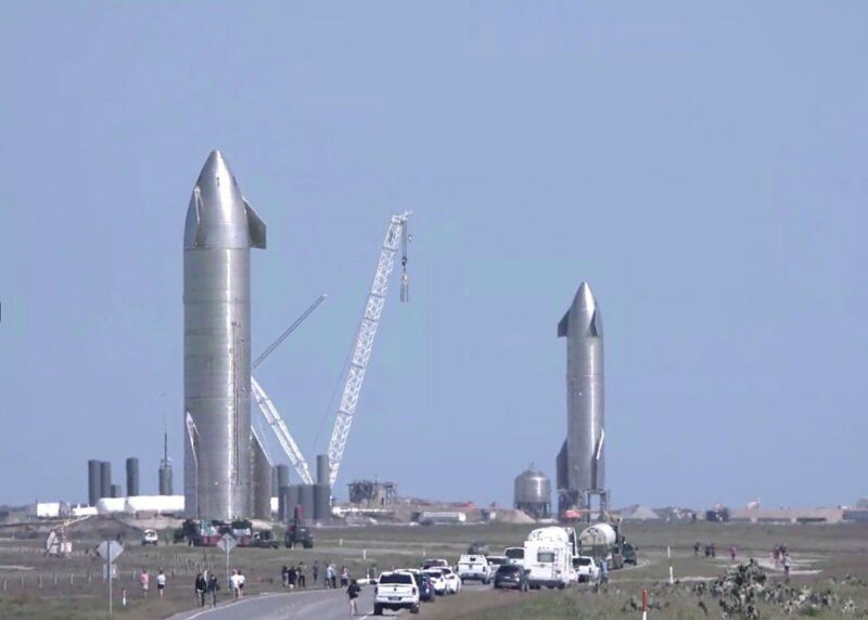 A Starship on the pad, and a second on the way in South Texas.