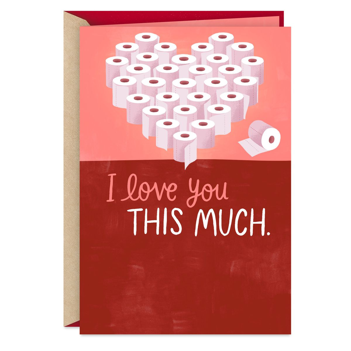 "a card with a heart made out of toilet paper rolls reading ""I love you this much"""